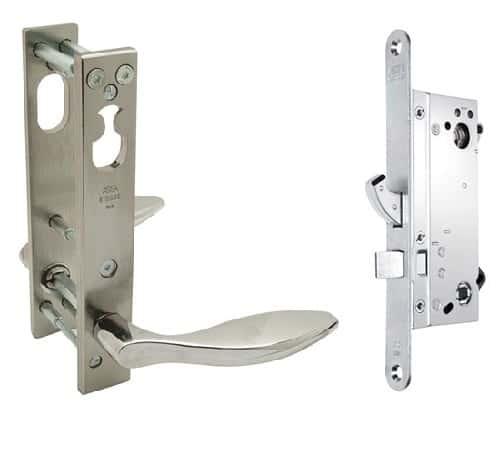 Assa Abloy Connect 410-35 lukukomplekt turvakatetega kitsasprofiil uksele Palmett Lukud