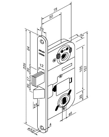 Abloy LC200 lukukorpuse joonis ja mõõdud, Palmett lukud