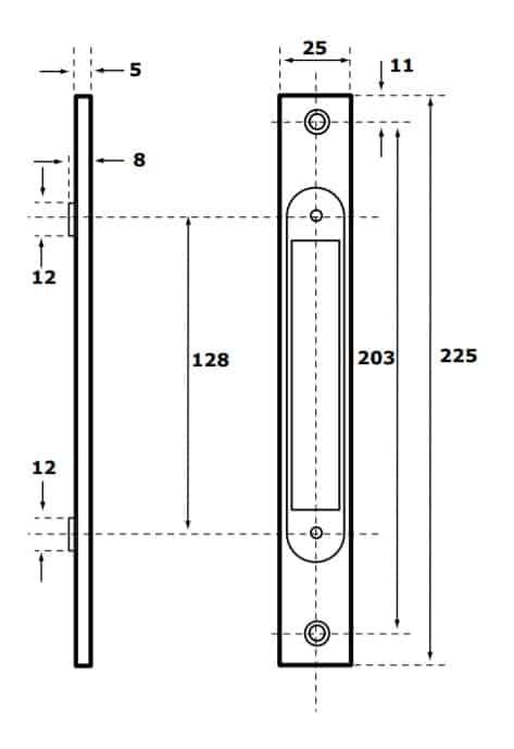 Abloy 7690 esiplaat mõõdud Palmett lukud