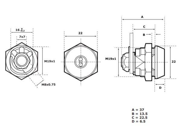 Abloy CL101 mööblilukk mõõdud Palmett lukud