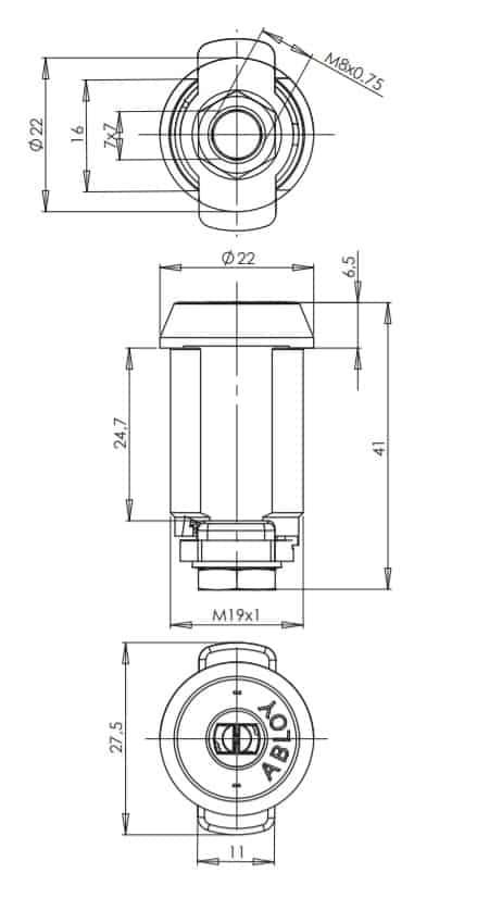 Abloy CL102 mööblilukk mõõdud Palmett lukud