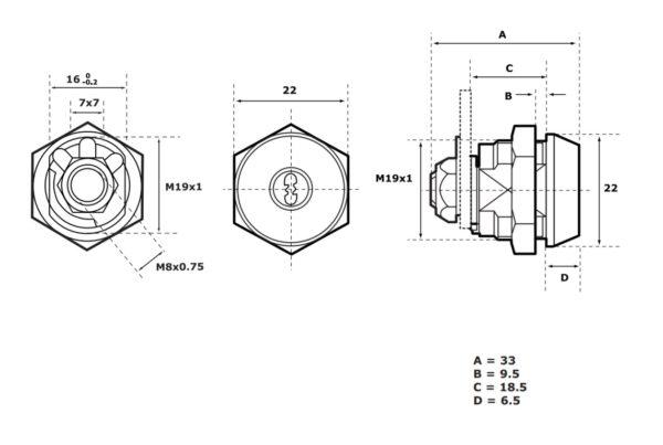 Abloy CL104 mööblilukk mõõdud Palmett lukud