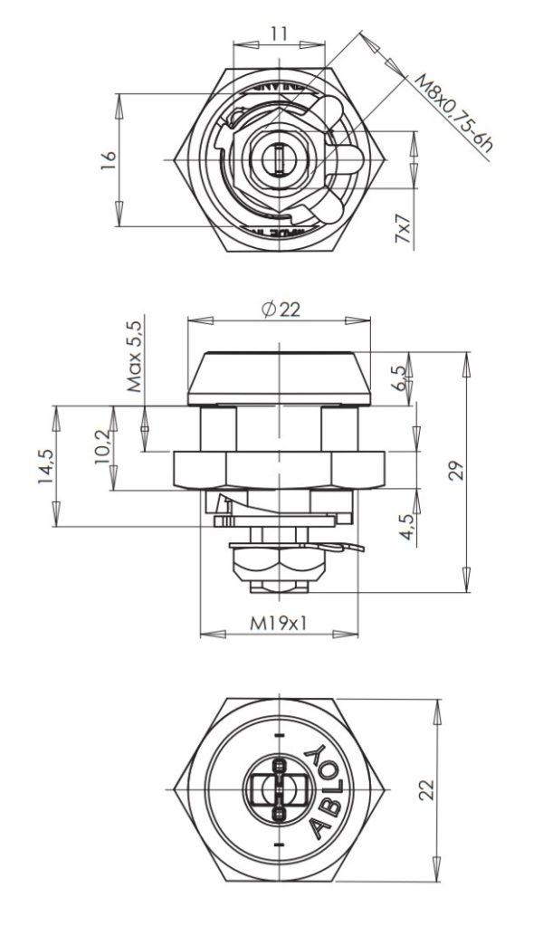 Abloy CL109 mööblilukk mõõdud Palmett lukud