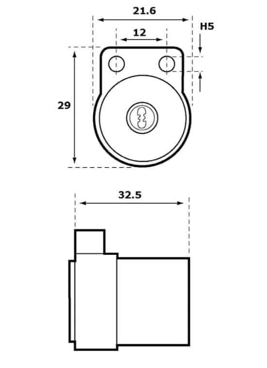 Abloy CY055 võtmepesa saabaspesa mõõdud Palmett lukud