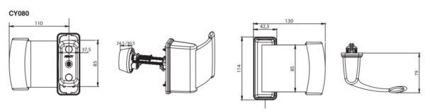 Abloy CY080U hoobkäepide mõõdud Palmett lukud