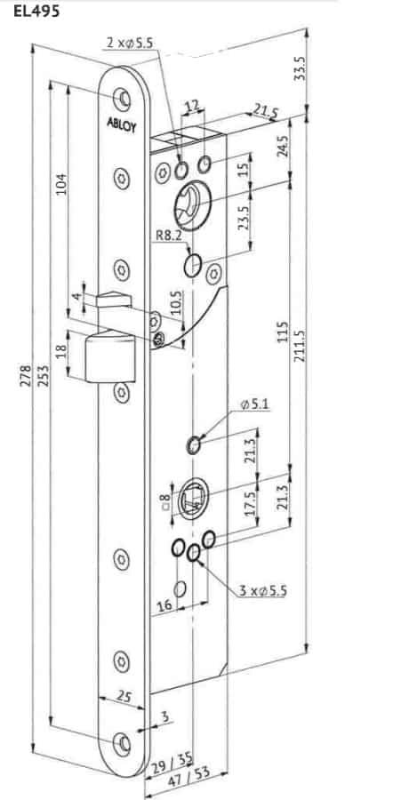 Abloy EL495 mootorlukukorpus mõõdud, Palmett lukud
