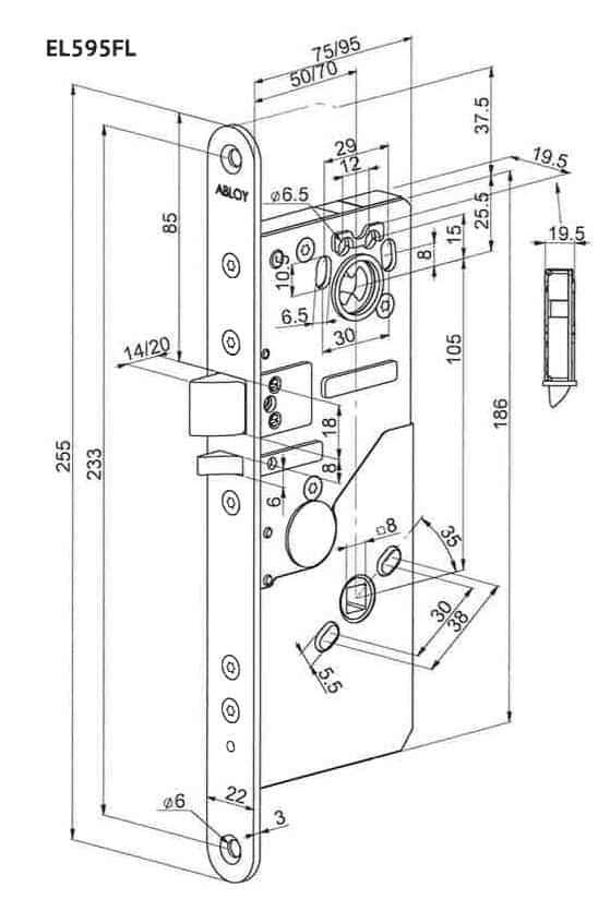 Abloy EL595FL mootorlukukorpus mõõdud, Palmett lukud