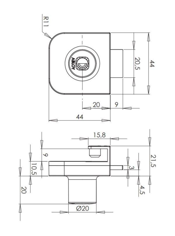 Abloy OF222 mööblilukk mõõdud Palmett lukud