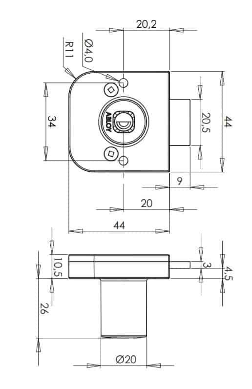 Abloy OF230 mööblilukk mõõdud Palmett lukud