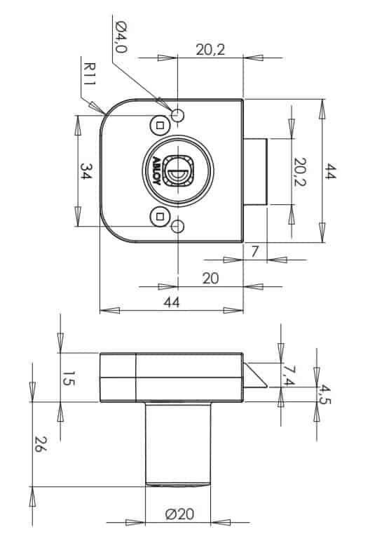 Abloy OF231 mööblilukk mõõdud Palmett lukud