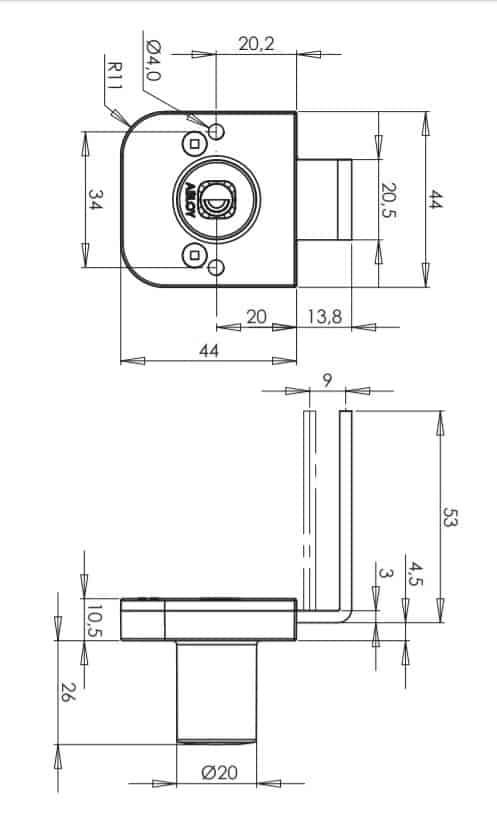 Abloy OF234 mööblilukk mõõdud Palmett lukud