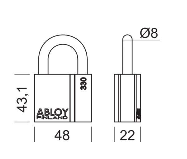 Abloy PL330 tabalukk mõõdud Palmett lukud