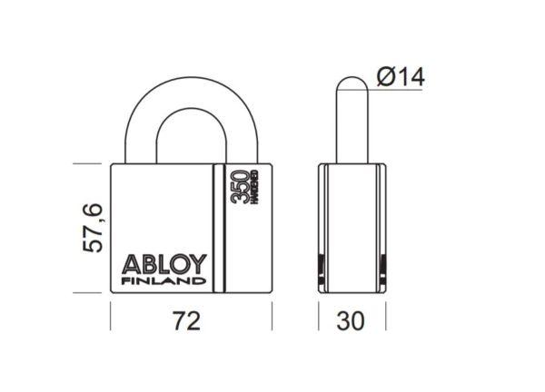 Abloy PL350 tabalukk mõõdud Palmett lukud