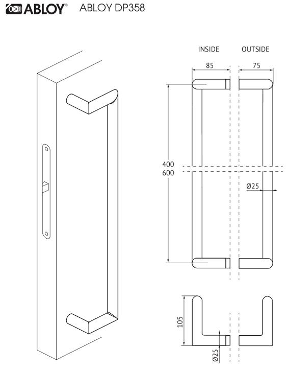 Abloy INOXI 138 S käepide mõõdud Palmett Lukud