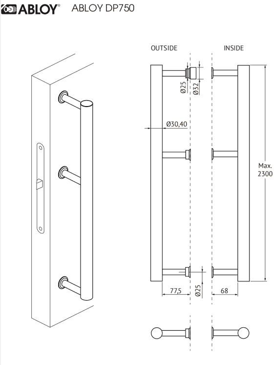 Abloy INOXI 750 käepide mõõdud Palmett Lukud