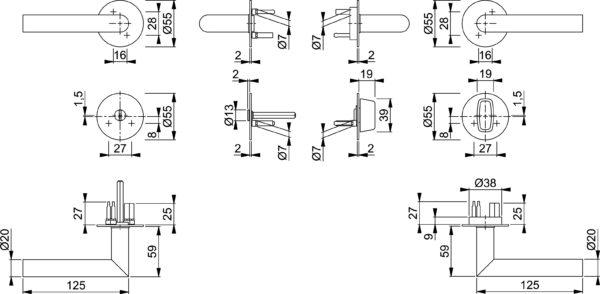 Hoppe E1400Z/849FI/849FIS Amsterdam link + WC-nupp mõõdud Palmett Lukud