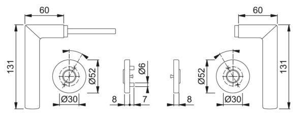 Hoppe E1140 Stockholm ukselink mõõdud Palmett Lukud