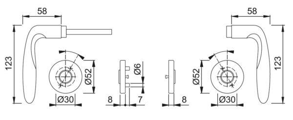 Hoppe E1800Z/42FI Verona ukselink mõõdud Palmett Lukud