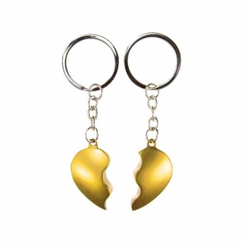 Võtmehoidja kahele jagatud syda kuldne