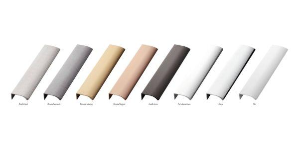 Beslag Design profiilkäepide pinnaviimistlused Palmett Lukud