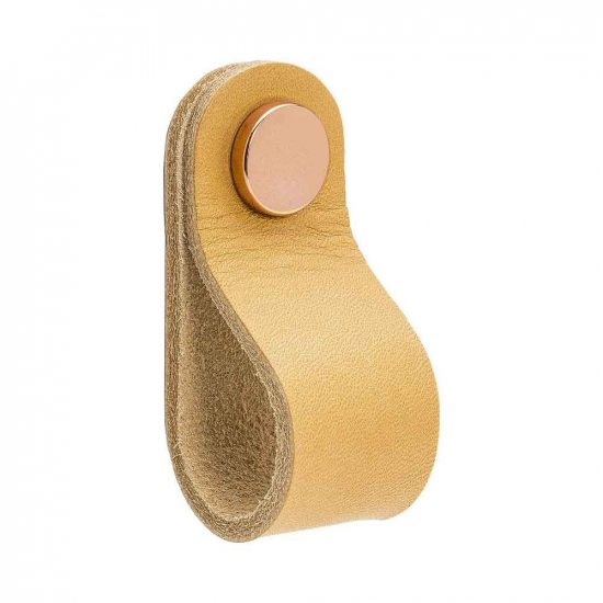 Beslag Design nahast mööblinupp naturaalne/vask Palmett Lukud