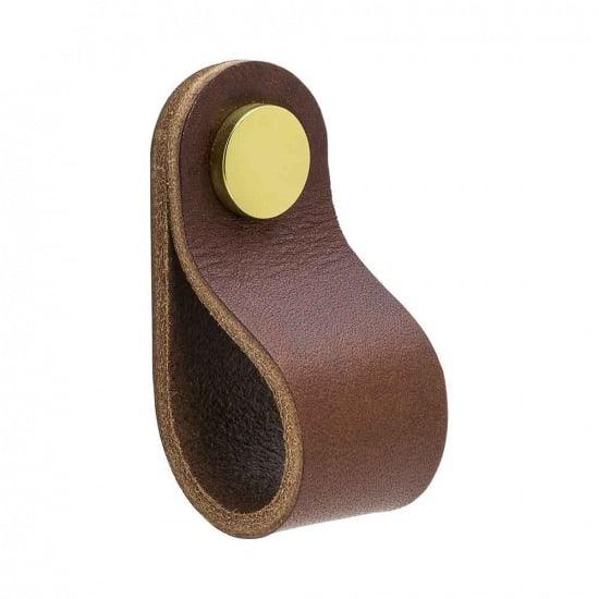 Beslag Design nahast mööblinupp pruun/messing Palmett Lukud