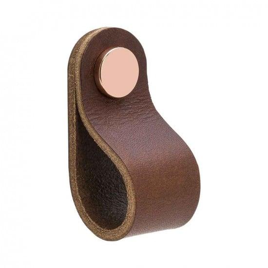 Beslag Design nahast mööblinupp pruun/vask Palmett Lukud