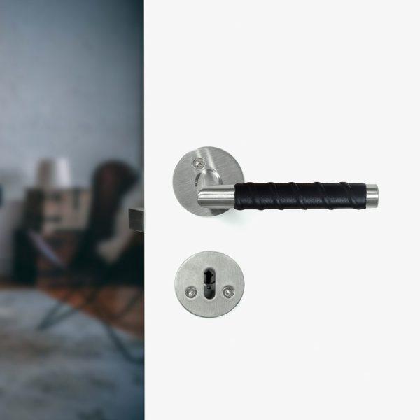 Beslag Design ukselink Kastrup 04 nahaga must Palmett Lukud